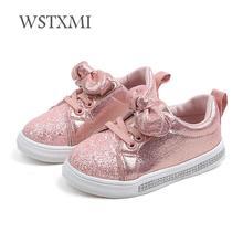 Весенне-Осенняя обувь для девочек детские кроссовки детская повседневная обувь модные блестящие кожаные Нескользящие туфли для принцесс на плоской подошве с бантом