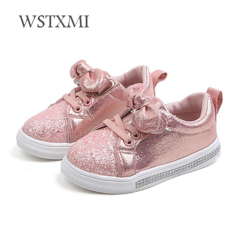 2019 Spring Autumn Girls Shoes Baby Sneakers Children Casual Shoes Fashion Bow-knot Glitter Leather Non-slip Flat Princess Shoes