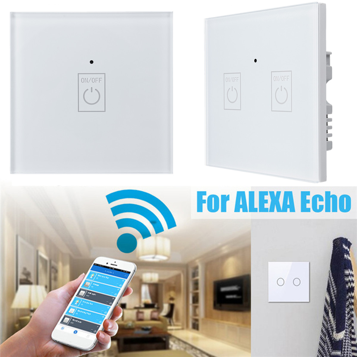 1/2/3 Gang UK/EU Type Panel Smart Wall Light Switch WIFI APP 15m Control Work With Alexa Echo/Google Sensitive Safe White цена