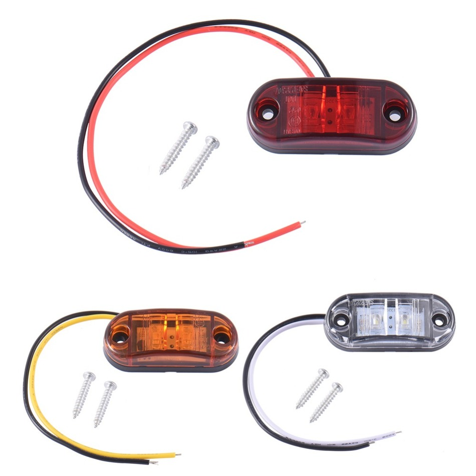 2pcs Waterproof ABS Piranha LED Side Marker Blinker Light Brake Signal Lamp 12/24V White Yellow Red For Car Truck Trailers hds090009 t20 9w 800lm 6 led red light car brake lamp silver white 2 pcs