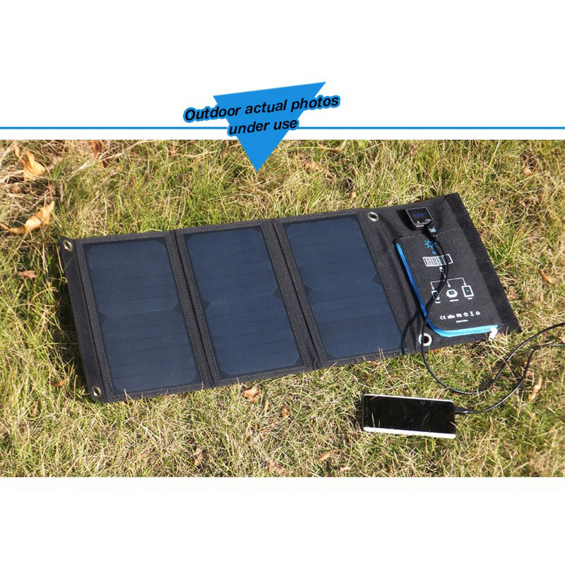 Foldable Solar Charger 21W 5V 3.5A Portable Dual USB Port Waterproof Solar Panel Cell Power Bank 5V for Phone IPhone PC Outdoor