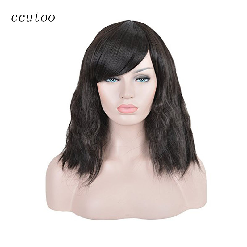 ccutoo 16 Women s Natural Black Medium Kinky Culy Synthetic Hair Heat Resistant Cosplay Full Wigs