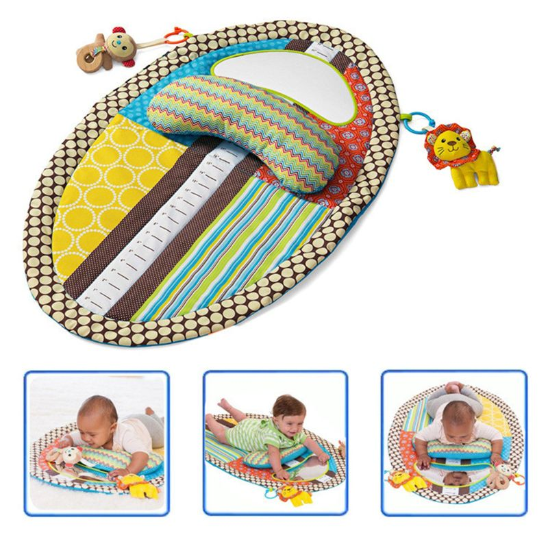 Tummy Time Activity Play Mat - Ergonomic Plush Pillow - Baby Mirror - Squishy Toys - Changing Pad - Height Measure Chart - Easy
