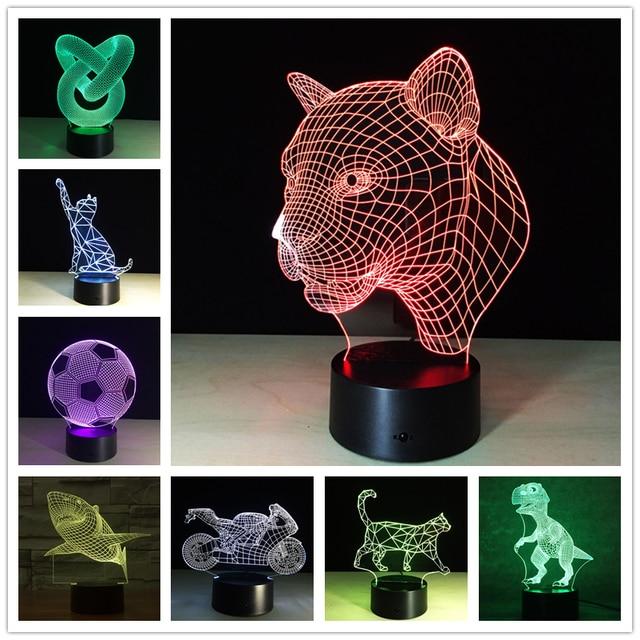 New Arrival Creative Animal Shark Night Light 3D Lamp LED Night Light Acrylic Colorful Gradient Atmosphere Lamp Novelty Lighting