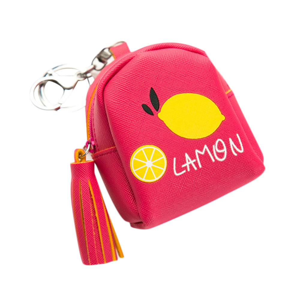 Women Fruits Pattern Mini Wallet Girls Cute Leather Coin Purses Printing Letter Cartoon Flap Bag Tassel Pendant munten houder