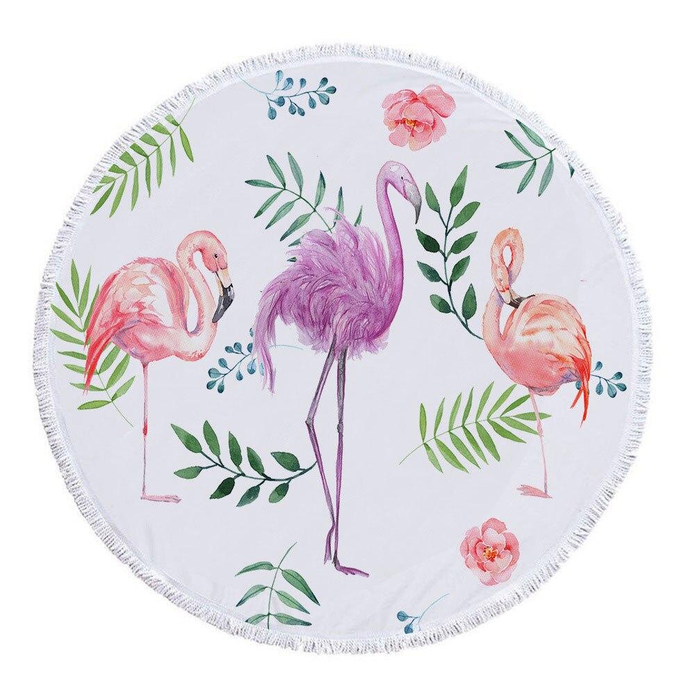 2019 Strand Handdoeken Nieuwste Stijl Fashion Flamingo 500g Ronde Strandlaken Met Kwasten Microfiber 150 Cm Picknick Deken Mat Tapestry