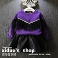 1 шт. девушка с капюшоном новый 2015 осень зима мода кисточкой с длинным рукавом девушки футболки костюм 2 ~ 7 лет детская одежда для пуловер