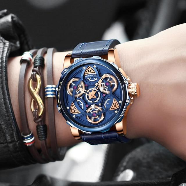 MINI FOCO Mens Relógios Top Marca de Luxo Projeto Do estilo Do Esporte Relógio de Quartzo Homens Pulseira de Couro Azul 30M À Prova D' Água Relogio masculino 4
