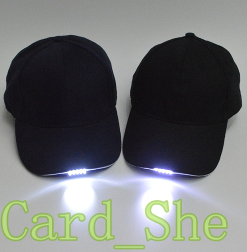 Battery Powered hat adjustable black/Dark blue baseball cap with 5 bright led light forman and woman New