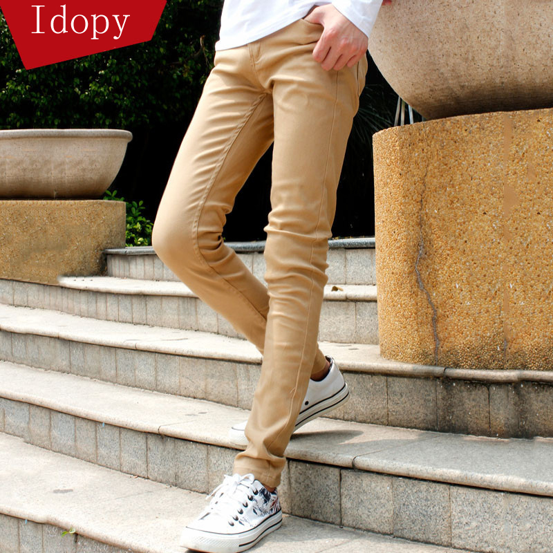 Mens Fashion Denim Pencil Pants Skinny Khaki Elastic Ripped Washed Faded Slim Fit Long Jeans Trouser For Young Men