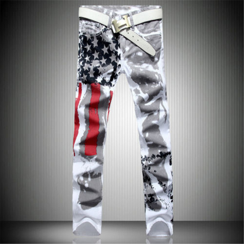 Casual Pants Mens white Jean Slim Fit Trousers