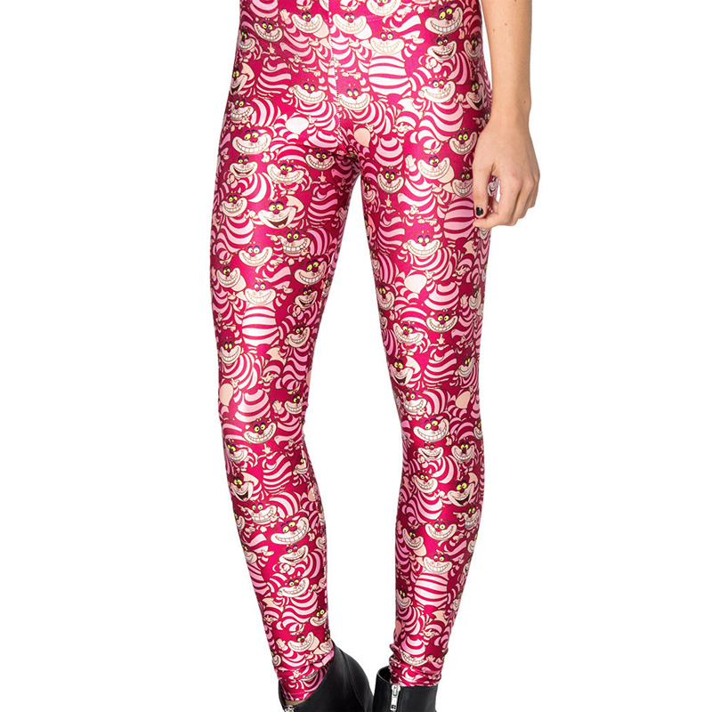 New Arrival 3287 Sexy Girl Women Alice In Wonderland Cheshire Cat 3D Prints Elastic Fitness Polyester Walking   Leggings   Pants