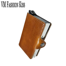 VM FASHION KISS Prevents RFID information leakage Genuine Leather Mini safe Multifunction Aluminum purse wallet Credit Card Box