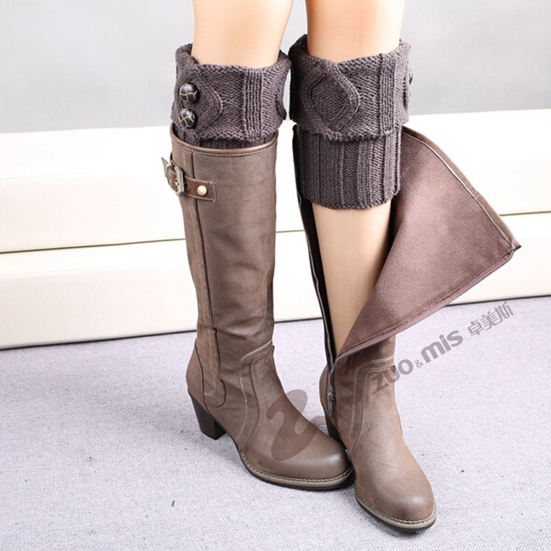 TOIVOTUKSIA Knit Boot Manset Tombol Crochet Boot Toppers Thermal Boot - Pakaian dalam - Foto 4