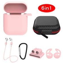 Mini 6 pcs In 1 Sets for Airpods Case Protective Cover Cute Kits Ring Strap Hook Winder Holder Box S