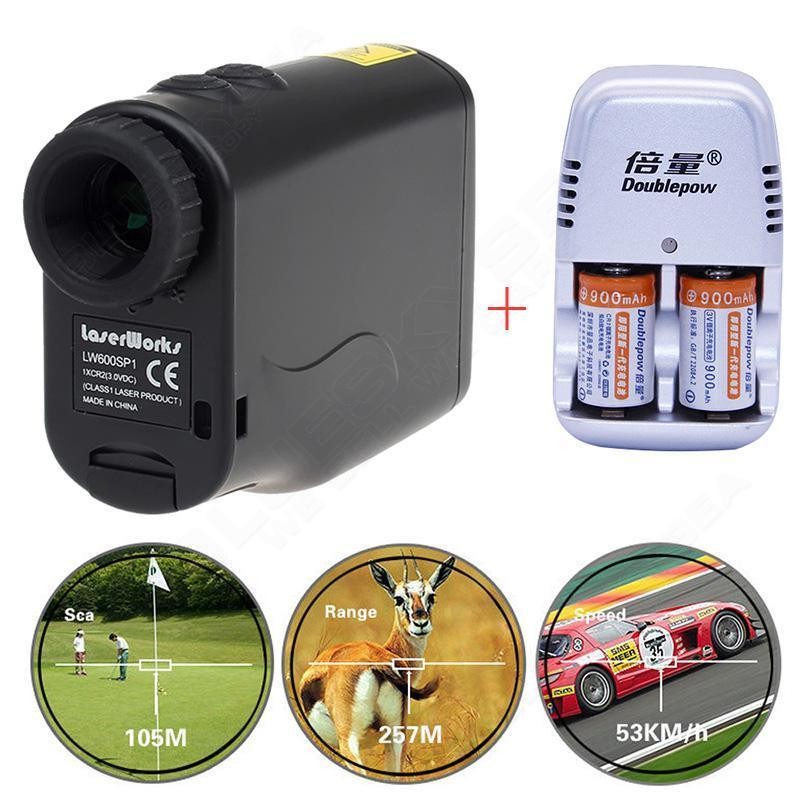 Free shipping Monocular Waterproof Laser font b Rangefinder b font Hunting Golf Scope Dual Charger Battery