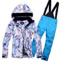 Mujer térmica Impermeable A Prueba de Viento de Montaña Polar Acolchado Chaquetas y pantalones de Esquí Traje de Esquí de Deportes de Invierno Que Arropan