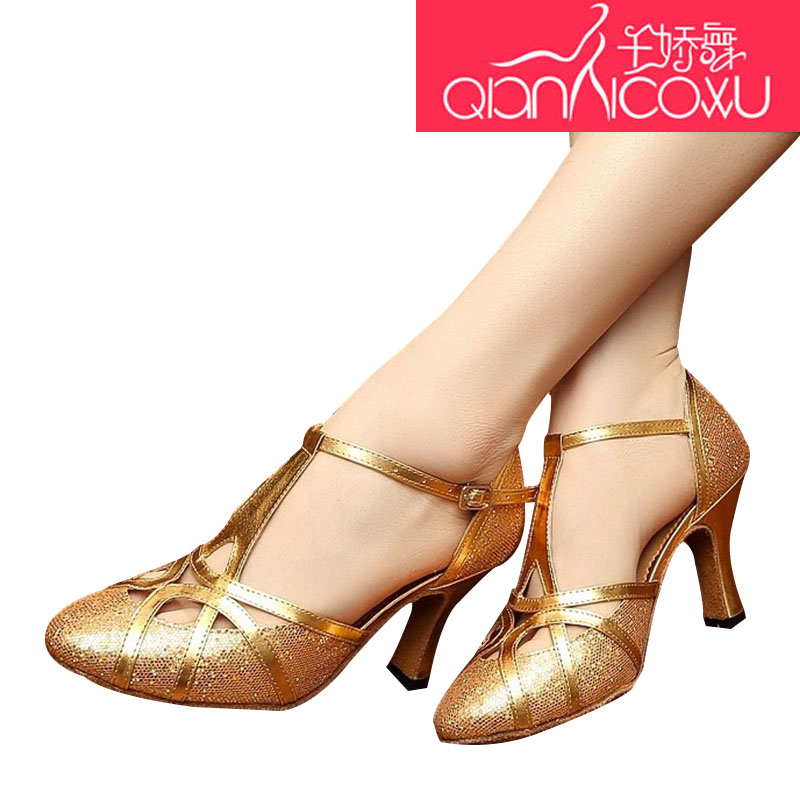 Thousands Of Golden Latin Dance Shoes Female Adults In Spring Summer Outdoor Square Friendship Dance Sandals Higt Heel 6116