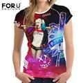 Forudesigns 3d t shirt mulheres curto-de mangas compridas das meninas da forma legal tops tees harley quinn caractere impresso t-shirt camiseta feminina