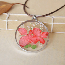 2015 new Japanese-style handmade Epoxy natural butterfly flower long necklace for women High quality herbarium  jewelry