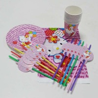 31pcs Set Hello Kitty Party Supply Cup Straw Plate Table Cloth Kids Birthday Party Decoration Hello