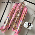 2017 Desigual scarf luxury brand Sunscreen Silk Shawl  Mechanical chain Fashion scarves new bandana for women Printed Tippet