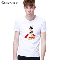 CEEWHY 2017 Summer Fashion Palace Funny T Shirt Cartoon Character Printed 3D T Shirt Off White
