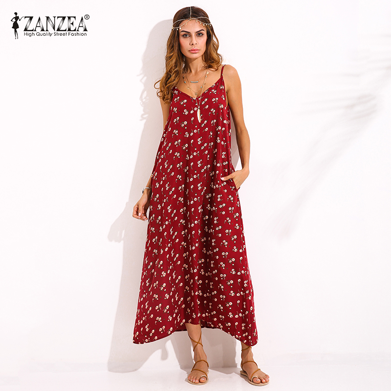 2018 ZANZEA Boho Womens Printime me Lule V, Qafë Sleeveless Sundress Summer Beach Mbrëmje Xhepa Strappy Maxi Long Dress Vestidos