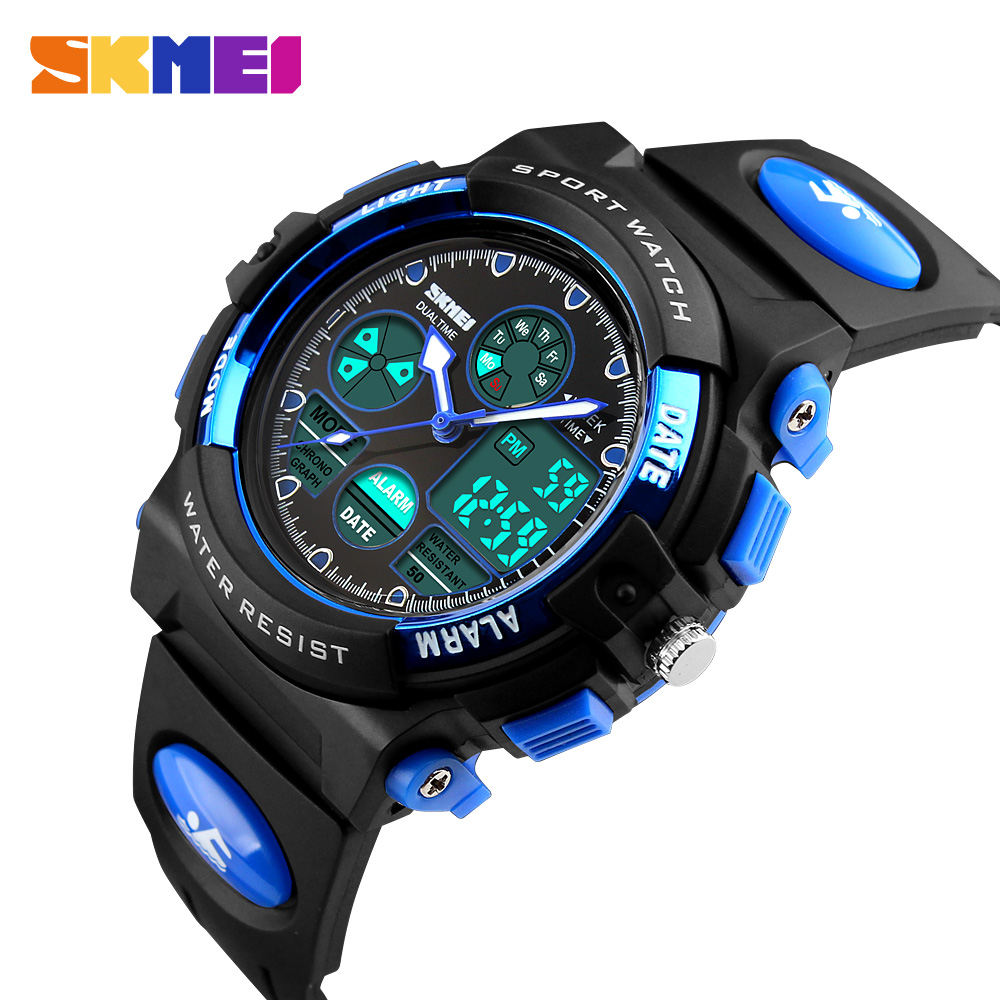 <font><b>Skmei</b></font> Children's Watches Waterproof Multifunction Outdoor Sports Wristwatches For Boy Analog Digital Student Watch Kids LED xfcs image