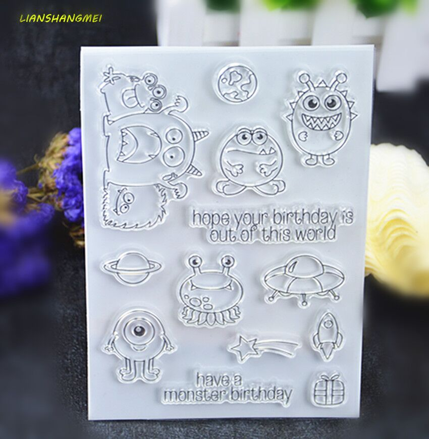 Birthday Monsters Transparent Clear Silicone Stamp/Seal for DIY scrapbooking/photo album Decorative clear stamp lovely animals and ballon design transparent clear silicone stamp for diy scrapbooking photo album clear stamp cl 278