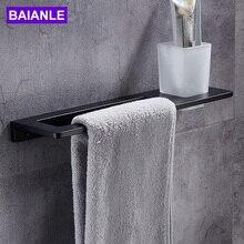 Черный держатель для полотенец+ стакан для зубных щеток, алюминиевая стойка для полотенец в ванной, настенный держатель для полотенец, аксессуары для ванной комнаты