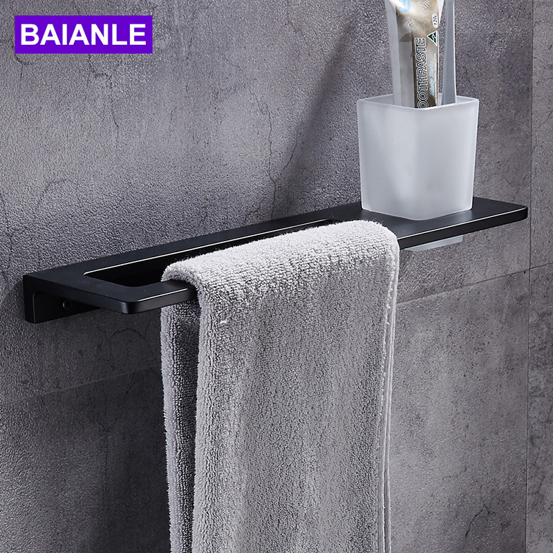 Black Towel Bar + Toothbrush Cup Space Aluminum Towel Rack In The Bathroom Wall Mounted towel Holder bathroom accessories aluminum wall mounted square antique brass bath towel rack active bathroom towel holder double towel shelf bathroom accessories