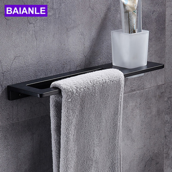Black Towel Bar + Toothbrush Cup Space Aluminum Towel Rack In The Bathroom Wall Mounted towel Holder bathroom accessories fashion space aluminium towel rack towel bar space aluminum bathroom accessories
