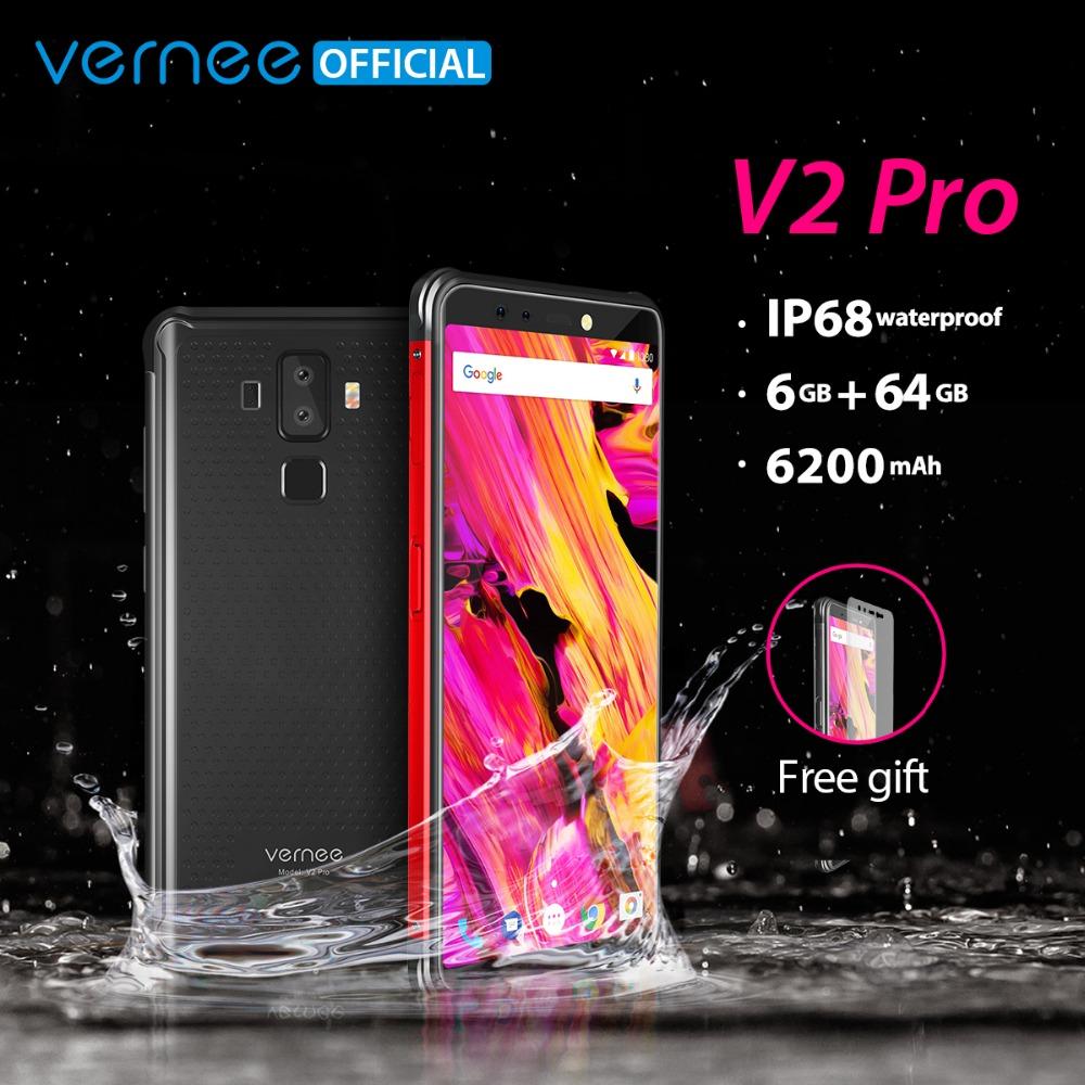Vernee V2 Pro IP68 Waterproof Smartphone 5.99 FHD Face ID Global Network 6GB 64GB Four Cam NFC 6200mAh Android 8.1 Mobile Phone