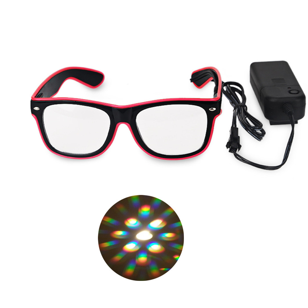 Buy Cheap 5pcs Flashing El Wire Led Glasses Party Supplies,el Wire Diffraction Fireworks Rainbow Glasses For Rave Parties