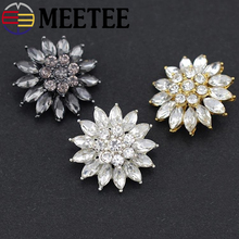 5pcs Meetee 21mm Metal Rhinestones Buttons White Black Gold Crystal Diamond Buckle Clothing Decoration Button DIY Sewing Apply