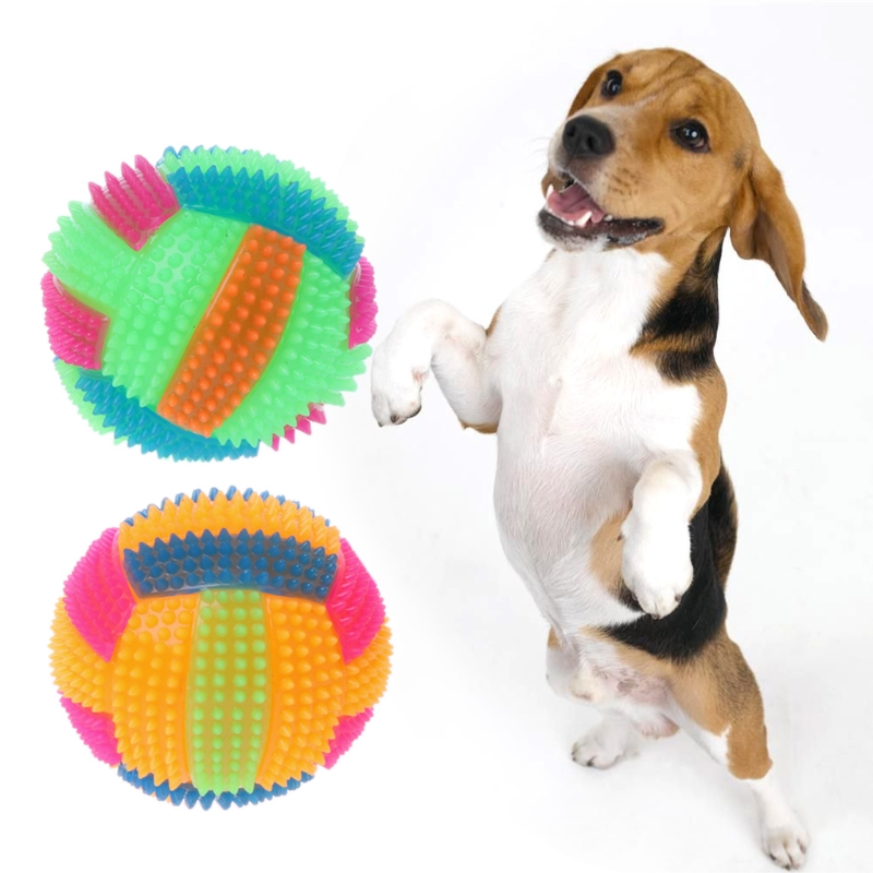 Dog Chew Toy Flashing Football Shape LED Light Sound Bouncy Ball Funny Pet Toy
