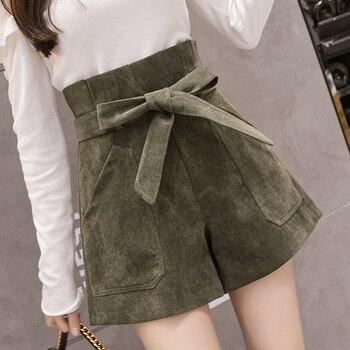 2019 New Fashion Lace-Up High Waist Shorts Women Autumn Winter Corduroy Casual Wide Leg Shorts Шорты