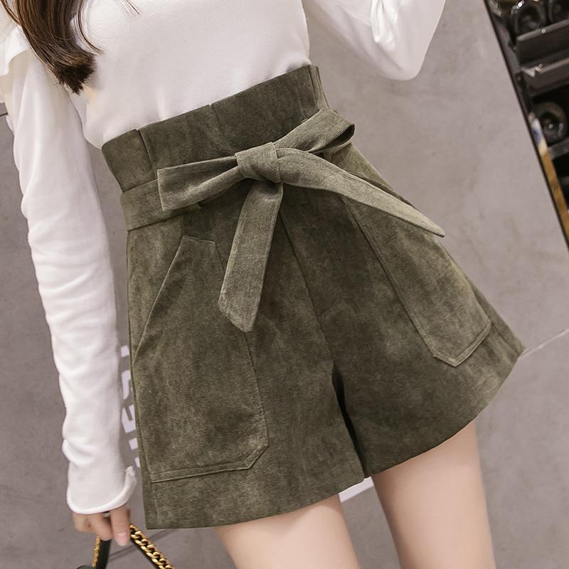 2019 New Fashion Lace-Up High Waist   Shorts   Women Autumn Winter Corduroy Casual Wide Leg   Shorts