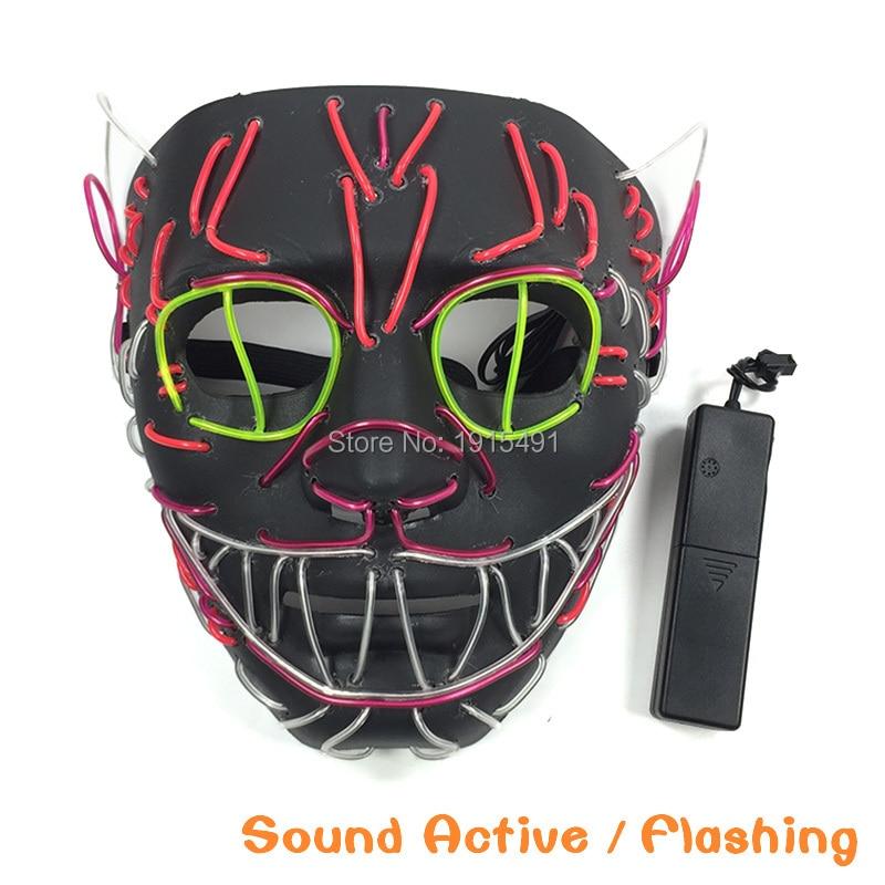 Zelfbewust Indoor Vakantie Lichten Blink Interessante Kat Koning Neon Buis Masker Stage Ontwerp Aantrekkelijke Bruiloft El Draad Cartoon Masker Met Drive