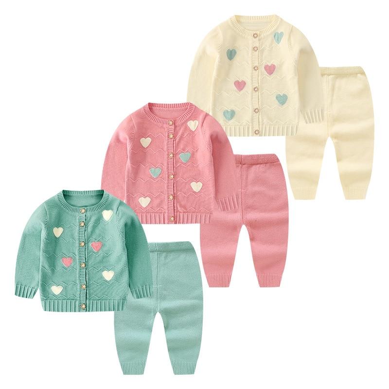 New Autumn Winter Newborn Baby Girls Clothes 2pcs Cute Knitting Coats+Pants Infant Baby Boys Clothing Sets Fashion Baby Sets