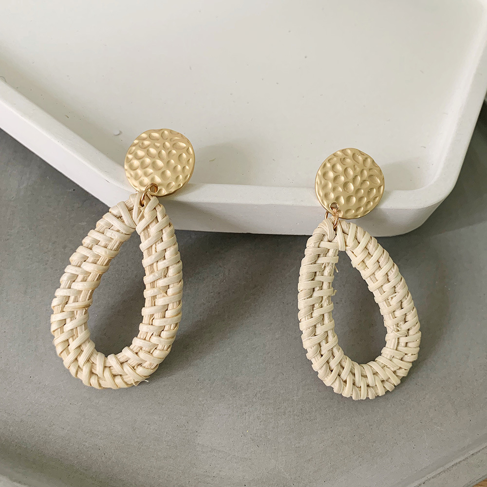 Bohemian Wicker Rattan Knit Pendant Earrings Handmade Wood Vine Weave Geometry Round Statement Long Earrings for Women Jewelry 6