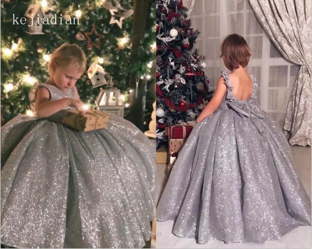 2018 New Material Bling Bling Flower Girl Dresses For Weddings Bow Girls Pageant Dresses First Communion Dresses For Little Girl Strengthening Sinews And Bones