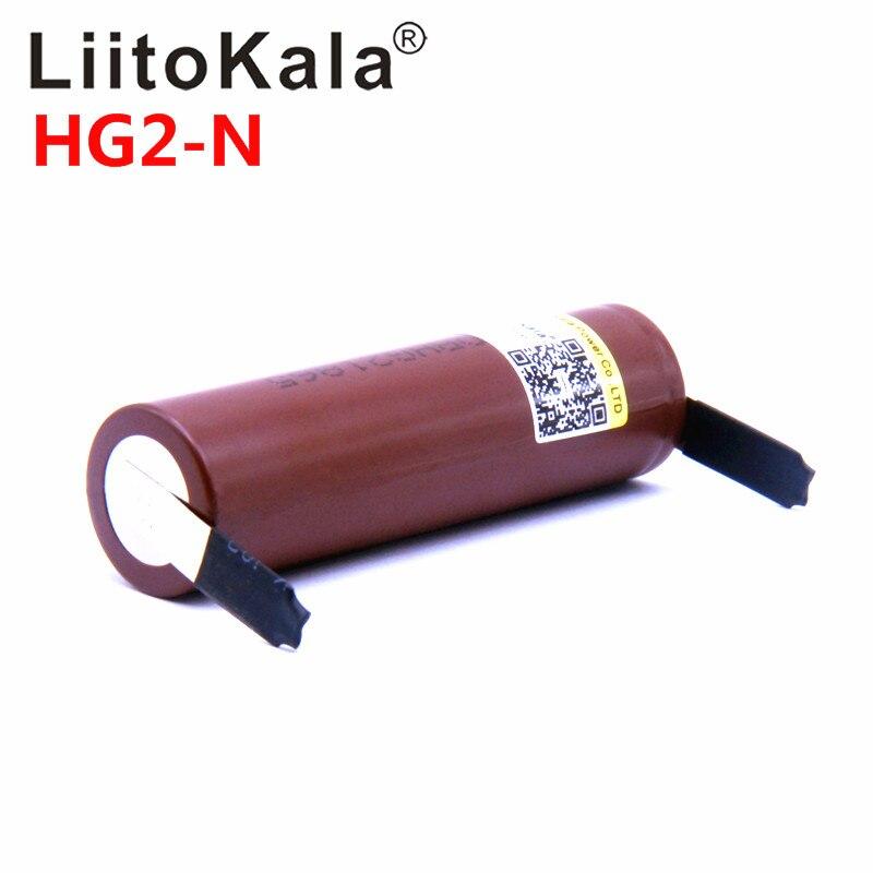 Liitokala hg2 bateria de 2018 HG2-N 18650 mah, descarga de 3000 v, 20a, descarga de alta potência + diy nicke, imperdível, 3.6