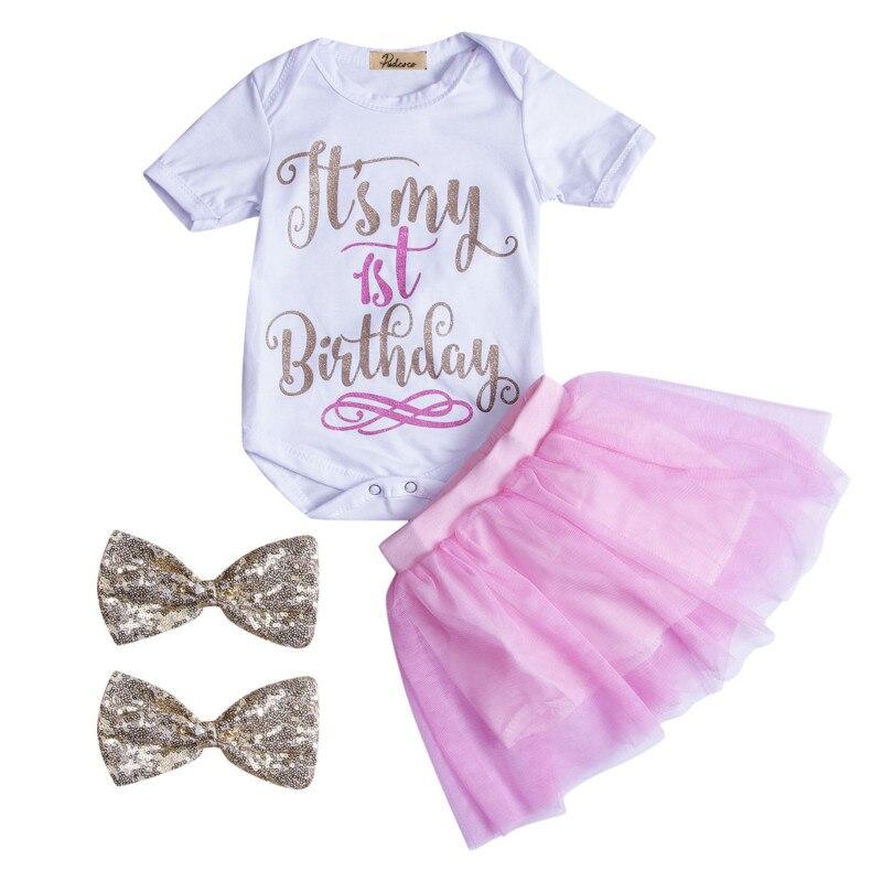 Baby Girls Infant Newborn Clothes Outfit Cotton Letter Short Sleeve Romper Tops+Tutu Lace Tulle Skirts Headband 3Pcs Sunsuit Set