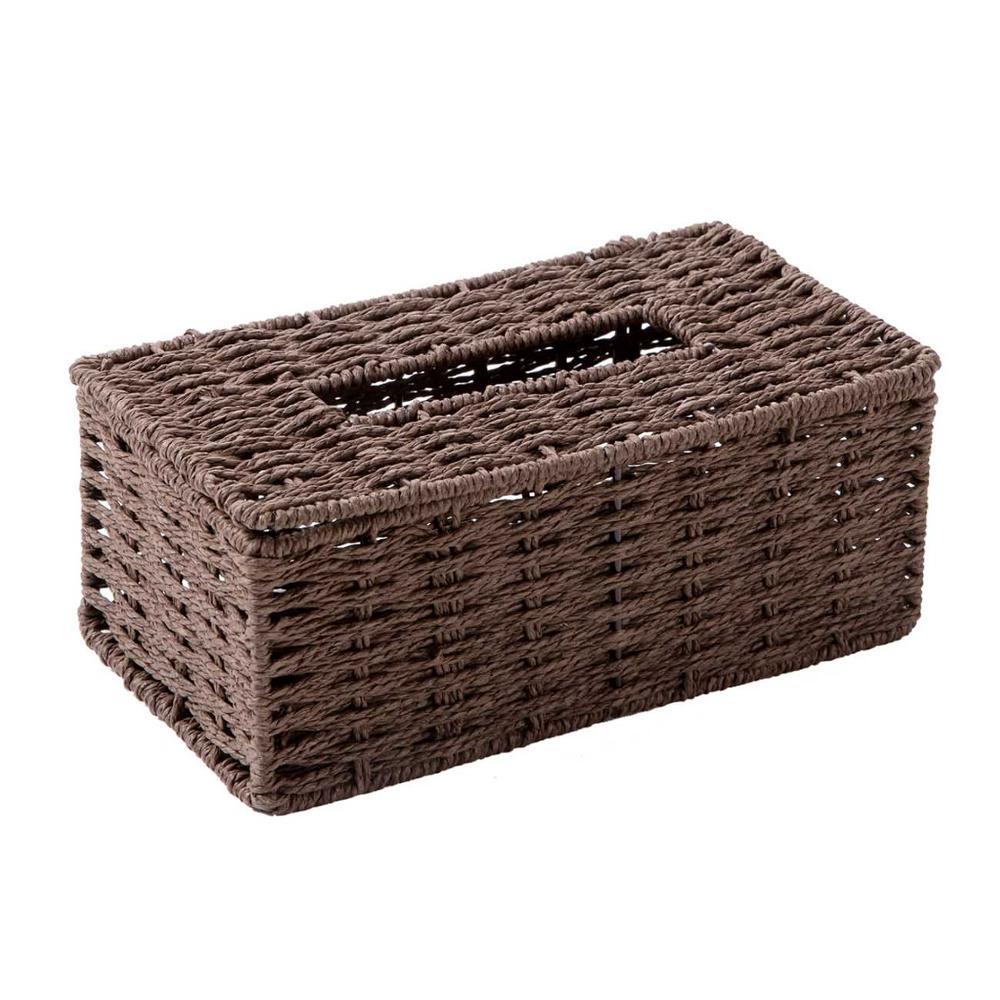 Винтажный держатель для салфеток из ротанга OTHERHOUSE, чехол для салфеток, держатель для салфеток, контейнер для хранения, покрытие для гостиной, украшение стола - Цвет: Шоколад