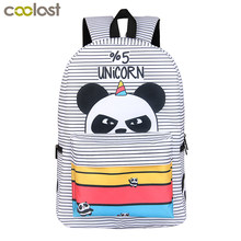 2018 Newly Panda Backpack for Teenager Girls Laptop mochila feminina Unicorn College Student School Backpack Women Travel Bags(China)