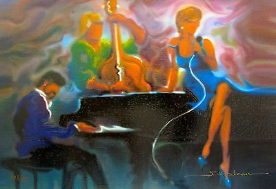 Steve Bloom Cool Jazz Hand Paints On Canvas Piano Bar Oil