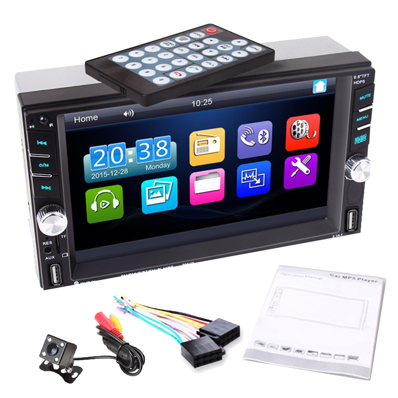 Car Multimedia Player Car MP5 Media Player with Rear Camera 6.6 Touch Screen 2 DIN Bluetooth FM Radio Stereo Player 7inch touch screen support hands free calls car stereo radio mp5 fm player with gps function 420 tv lines ir camera