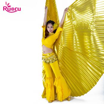 Ruoru kobiety dzieci dziewczyny taniec brzucha Isis skrzydła złoty taniec brzucha skrzydła Bellydance kostium egipski taniec orientalny bez patyczków tanie i dobre opinie Poliester WOMEN RC-337